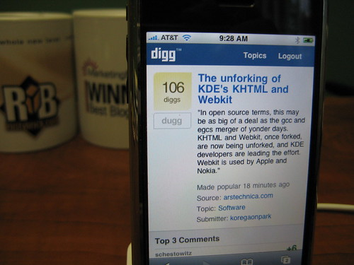 Digg on iPhone