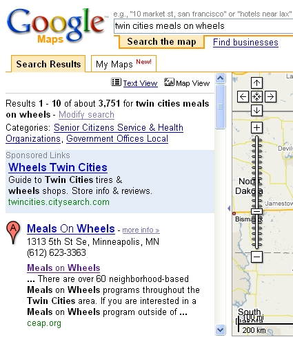 Twin Cities Meals On Wheels Google Maps Search Screenshot