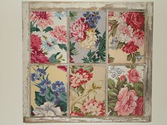 old window w/ barkcloth (suzanneduda) Tags: pink roses window vintage chic shabbychic barkcloth
