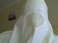 Fully Veiled all day (latexladyll) Tags: ds rubber nun bdsm latex hood gag submission burqa enclosure veils