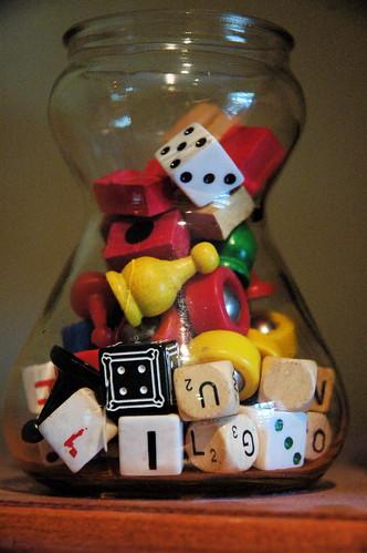 jar of random game pieces