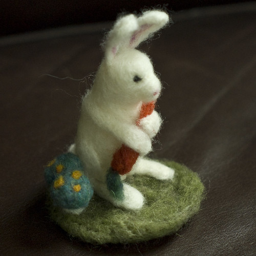 Felted Friend - Bunny with Carrot in Garden