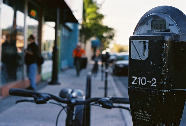 parking meter, bike, downtown
