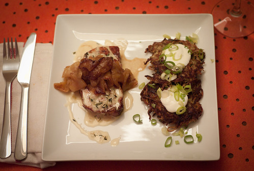 Smoked Pork Loin with Calvados Sauce and Apples; Apple Potato Pancakes with Creme Fraiche