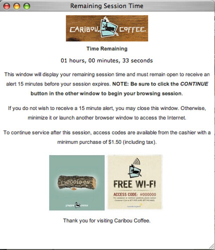 Caribou Coffee WiFi Policy