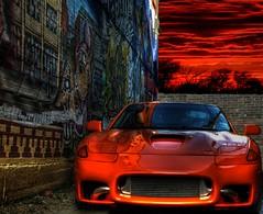 lava_view stealth 3000gt (exposed_existenz) Tags: auto light car photoshop japanese graffiti dallas mural texas tag twin led turbo adobe stealth dodge brake custom import twinturbo hdr highdynamicrange mitsubishi dsm exhaust jdm v6 vr4 3000gt bodykit dodgestealth photomatix 3si rttt deepellumtexas chriselswick