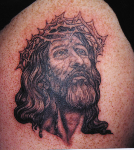 jesus face. Tattoo by Denise de la Cerda. Tattoo done at Modern Electric in