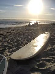 waiting for the surf (Miss Martini (AnnaLynn M.)) Tags: sunset beach surfboard coronadoshores