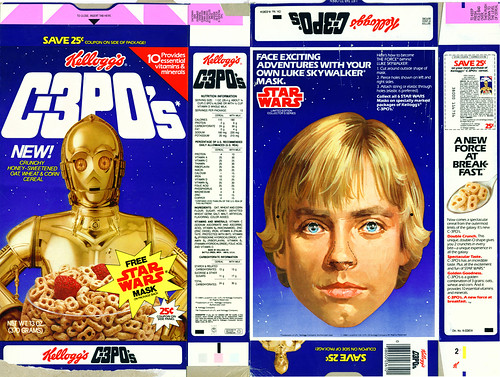 Kellogg's C3POs Cereal - Luke Mask - Full Box - 1984