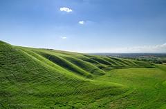 Uffington Hill (. Andrew Dunn .) Tags: uk blue england sky green grass clouds landscape shadows hill hills valley minimalist oxfordshire whitehorsehill uffington themanger coomb cy2 challengeyouwinner uffingtonmanger