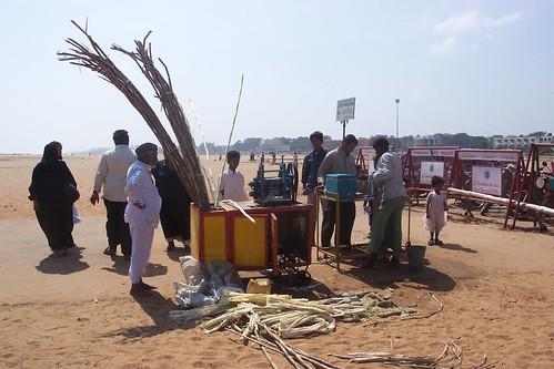 Sugarcane vendor Marina Beach