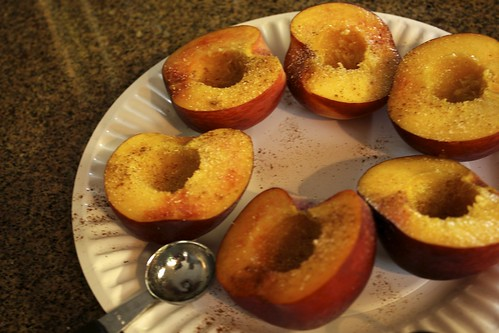 prepping peaches for grilling