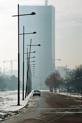 Photo12_8A (Aleksanadar Savic) Tags: street morning winter snow building skyscraper photography belgrade analogphotography beograd usce jutro cannoneos650