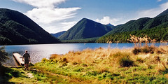 Lake Daniells (Daniel Murray (southnz)) Tags: newzealand lake forest landscape scenery jetty hill nz southisland lewispass nationalreserve specland southnz eos50escanfromprint lakedaniells