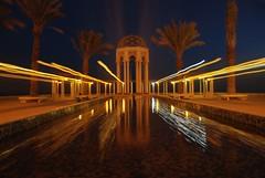 BEAM (radiant guy) Tags: longexposure trees light reflection tree water night wow dark palms aqua palm beam kuwait magical effect supershot mywinners