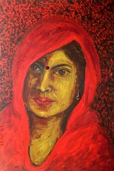 Woman in Red (Shubnum Gill) Tags: red portrait woman india colour art me girl painting circle golden eyes women asia veil expression delhi indian fear canvas painter oil classical typical intimate gill feminist newdelhi dalit earing insecurity hindustani indianwomen bindiya 10faves ghunghat shubnum shubnumgill wwwshubnumgillcom