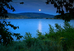 rising moon (storm light) Tags: blue trees moon lake canada beach silhouette rising shine bc dusk okanagan moonshine okanaganlake anawesomeshot kickinineeprovincialpark