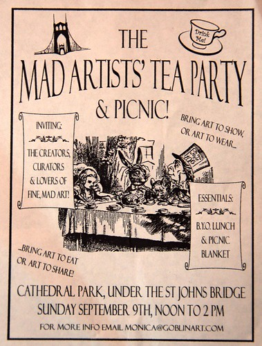 "Sept 9: ""temperatures will be around 85 F"" for Mad Artist's Tea Party"