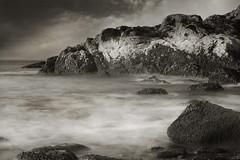 The sea is full of ghosts (IrenaS) Tags: ocean longexposure sea blackandwhite monochrome coast bravo rocks maine 123bw
