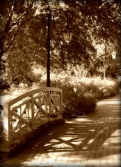 a walk through the garden (phoebe reid) Tags: bridge autumn brick fall lamp sepia garden virginia richmond sidewalk va lantern lightpost lewisginterbotanicalgardens favoritegarden