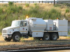 Union Pacific 63173 Freightliner FL80 Fuel Truck 2 (Jack Snell - Thanks for over 21 Million Views) Tags: railroad train truck way pacific union rail boom maintenance mow sterling fuel freightliner of mofw 62570 fl80 63173