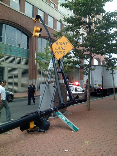 Truck hits pole in hoboken