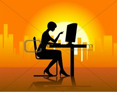 Lady In Front Of Computer (sahadev_bankar) Tags: ladies sunset shadow people woman hot building yellow lady illustration sunrise buildings computer corporate office chair women shadows chairs illustrated young illustrations computers monitor business company monitors success businesswoman clippingpath businesswomen