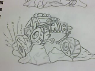 Pencil drawn Jeep
