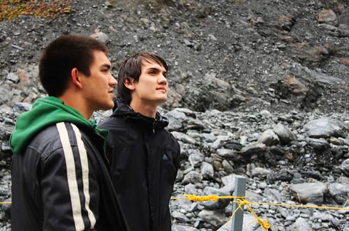 The boys regarding the Franz Joseph glacier, day 10