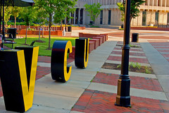 VCU in Big Letters on Shafer Court (taberandrew) Tags: college sign campus virginia fan big university afternoon path letters large richmond va rams vcu virginiacommonwealthuniversity richmondcity shafercourt monroeparkcampus