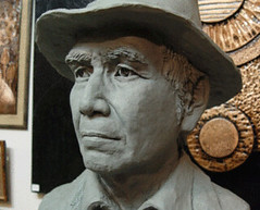 Portrait sculpture, reproduction from photo, by Thai artist Santi Vipaka, Chiang Mai