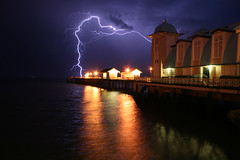 Lightning Strikes Pier (Time Grabber) Tags: sea england southwales night coast pier shadows turquoise victorian photobook explore bolt artdeco penarth breathtaking wfc valeofglamorgan photooftheday competitionwinner omot anawesomeshot irrisistiblebeauty superbmasterpiece diamondclassphotographer flickrdiamond timegrabber collectivedreamjournal bristolchannelreflections excellentafterdark compulsivefolksonomygraffiti