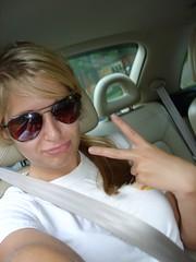 Nicole (2 or 9) (merfam) Tags: girl car sunglasses nicole pretty sunny teen seatbelt 2007