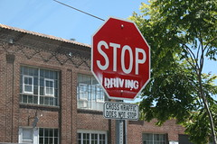 Stop Driving (sccworlds.com) Tags: california county green sign st altered oakland town driving charles stop worlds intersection about neighbors