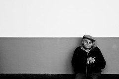 Waiting (Tiag Ribeiro) Tags: old portrait people bw saveme6 deleteme10 elderly aging madeira