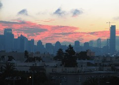 event break (pbo31) Tags: sanfrancisco california above city morning pink blue summer sky urban usa black color silhouette northerncalifornia skyline architecture clouds america sunrise canon dark landscape dawn downtown different view unique over august structure odd sanfranciscobayarea left westcoast metroplex