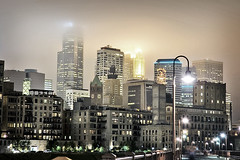 Minneapolis at Night (jpnuwat) Tags: longexposure usa fog skyline night nikon raw nef d70 minneapolis twincities stonearchbridge dsc1028