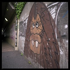 Mad Gorilla aka Shibuya Bigfoot (gullevek) Tags: plants streetart art 6x6 film japan wall geotagged concrete graffiti iso100 tokyo fuji pavement bronica    bigfoot  sampo  scannedfromnegative epsongtx900 fujirealaace100 zenzabronicaectl nikkoroc50mmf28 geo:lat=35658889 geo:lon=139711863