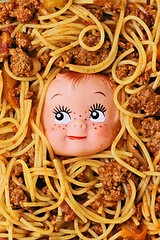 Spag Eddie (boopsie.daisy) Tags: food silly color colors strange face dinner ed weird yummy funny colorful doll head sauce peekaboo pasta creepy spooky edward delicious noodles multiple eddie supper spaghetti quirky lots kooky
