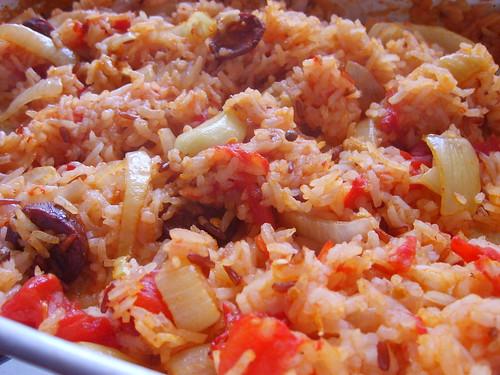 Riz Au Four, Oignons TOmates, Chorizo, Coriandre, Citron et Ail
