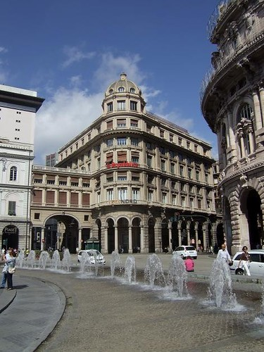 historical buildings on Piazza de Ferrari in Genoa