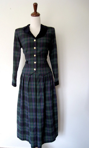 Lanz Originals Warm PLAID FLANNEL Dress, Vintage 80's