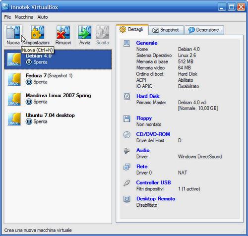VirtualBox - creazione nuova macchina virtuale
