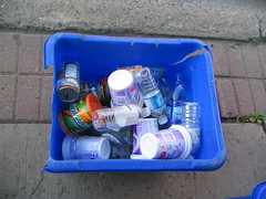 What's in your recycle box? (Sharon's Shotz) Tags: blue glass interestingness garbage plastic cans recycle recycling bluebox colorfulweek