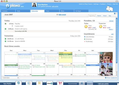Plaxo 3.0 Calendar