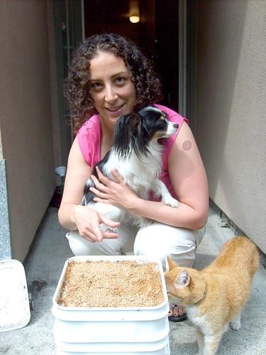 Sarah & her full Bokashi Bucket