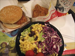 mcdonalds food 2 (noshowerfamily) Tags: food chicken vegetables dinner salad corn drink tomatoes fastfood beverage taiwan icedtea meat mcdonalds lettuce hamburger cabbage junkfood tainan tainancity noshowerfamily thousandislanddressing chickenmccrispy spicychickenhamburger
