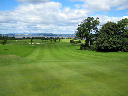 View from the hole down the 10th fairway at Silverknowes Golf Course  Edinburgh