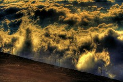 Clouds with power poles, Haleakala Crater, Maui, Hawaii (Don Briggs) Tags: hdr louds mauihawaii haleakalacrater canonxti donbriggs