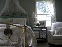 My bedroom (orangesky23) Tags: blue net barn silver french table hardware bed italian iron antique side powder sage mosquito cover rocker pottery mirrored restoration slip anthropologie canopy toile matine slipcovered